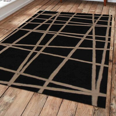 Xander Geometric Hand-Tufted Wool Black Area Rug Rug Size: Rectangle 9 x 12
