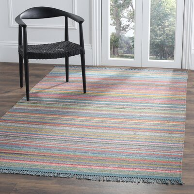 Sojourn Stripped Hand-Woven Blue/Orange Area Rug Rug Size: Rectangle 5 x 8