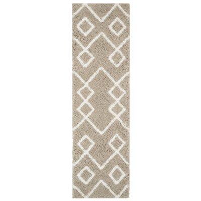 Livingstone Hand-Tufted Beige/White Area Rug Rug Size: Runner 23 x 8