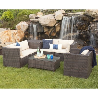 Hilaria Rattan 5 Piece Brown Deep Seating Group with Cushion