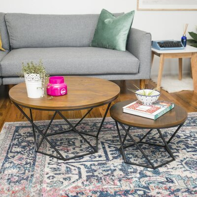 Harper Geometric Wood Coffee Table Base Finish: Black