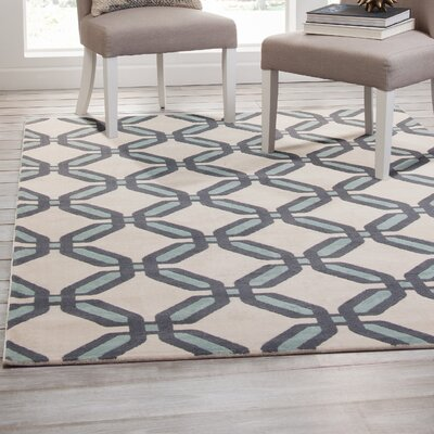 Colesberry Teal/Beige Area Rug Rug Size: 53 x 76