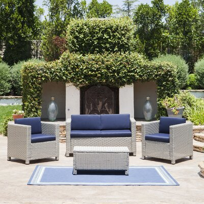 Cronius Outdoor Wicker 4 Piece Deep Seating Group with Cushion Cushion Finish: Navy Blue