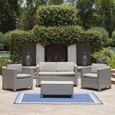 Cronius Outdoor Wicker 4 Piece Deep Seating Group with Cushion Cushion Finish: Carmel Brown