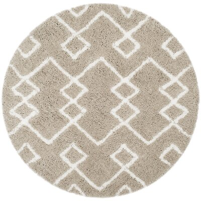 Livingstone Hand-Tufted Beige/White Area Rug Rug Size: Round 5