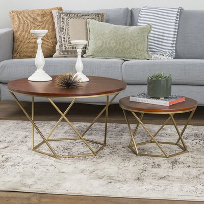 Harper Geometric Wood Coffee Table Base Finish: Gold