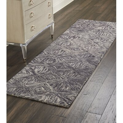 Divernon Hand-Woven Wool Charcoal Area Rug Rug Size: 39 x 59