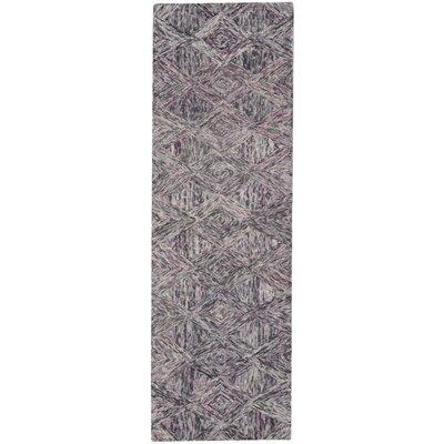 Divernon Hand-Woven Wool Charcoal/Purple Area Rug Rug Size: Runner 23 x 76