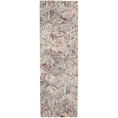 Divernon Hand-Woven Wool Tan/Blue Area Rug Rug Size: Runner 23 x 76