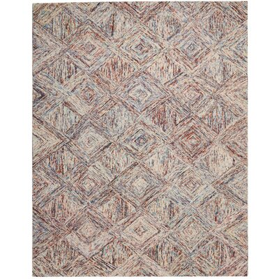 Divernon Hand-Woven Wool Tan/Blue Area Rug Rug Size: 39 x 59