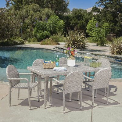 Georgianne Outdoor Wicker 7 Piece Dining Set Color: Chateau Gray