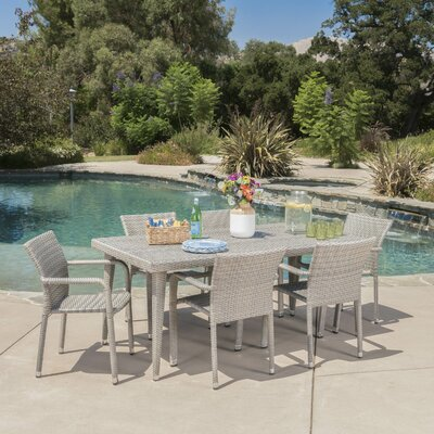 Georgene Outdoor Wicker 7 Piece Dining Set Color: Chateau Gray