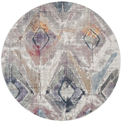 Newport Lavender/Light Gray Area Rug Rug Size: Round 7