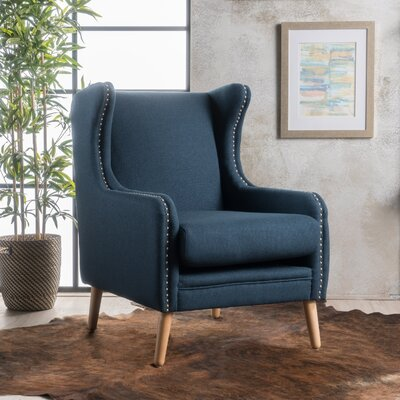 Coombs Wing back Chair Upholstery: Navy Blue