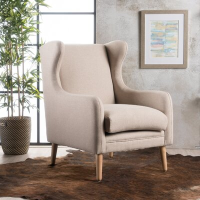 Cooper Wing back Chair Upholstery: Cream