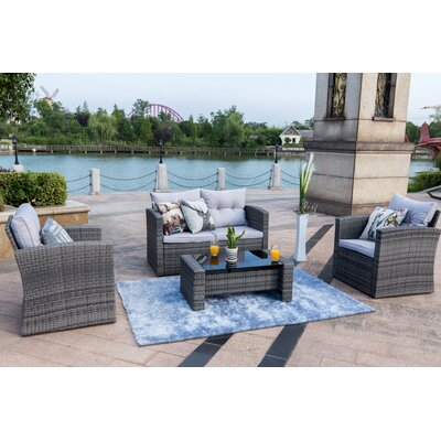 Dille 4 Piece Rattan Sofa Seating Group Set with Cushions Color: Gray