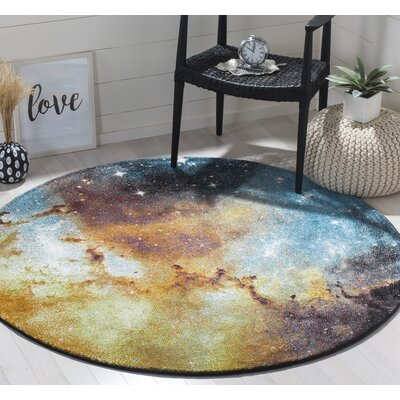 Orange Abstract Area Rug Rug Size: Round 53