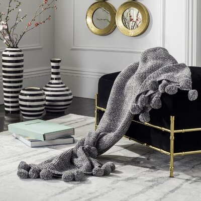 Granite Range Pom Pom Knit Cotton Throw