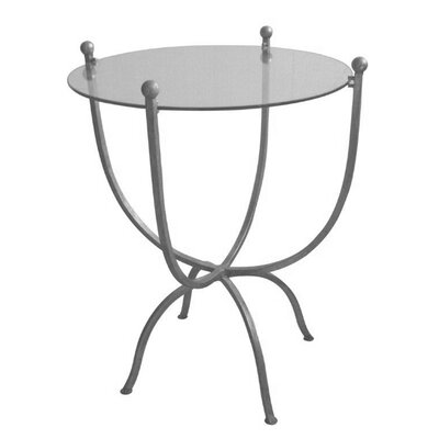Carmel Metal and Glass End Table Color: Silver