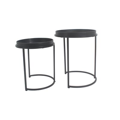 Fabre 2 Piece Nesting Tables Color: Black