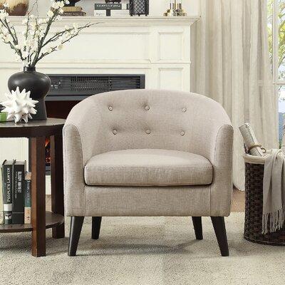 Peterson Tufted Barrel Chair Color: Beige