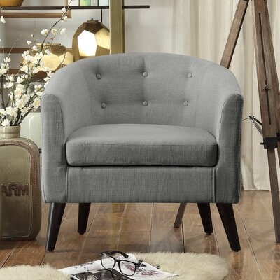 Peterson Tufted Barrel Chair Color: Gray