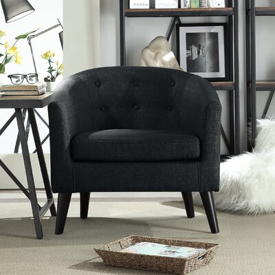 Peterson Tufted Barrel Chair Color: Charcoal