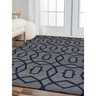 Sampson Geometric Hand Knotted Wool Light Blue Area Rug Rug Size: 9 x 12