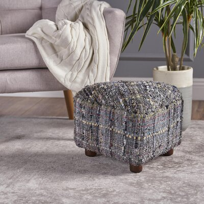 Lisse Ottoman with Wood Frame Upholstery: Pepper