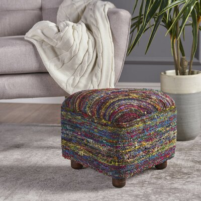 Lisse Ottoman with Wood Frame Upholstery: Red/Yellow