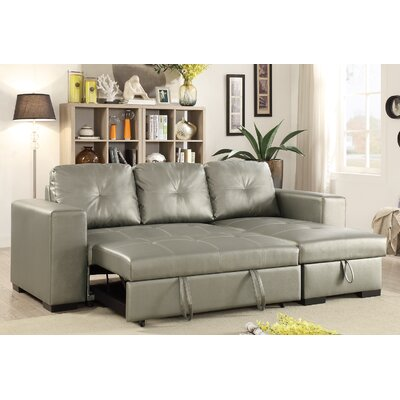 Buchman Linen-like Reversible Sectional with Pull-Out Bed and Com Upholstery: Silver