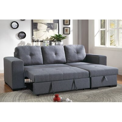 Buchman Linen-like Reversible Sectional with Pull-Out Bed Upholstery: Blue Gray