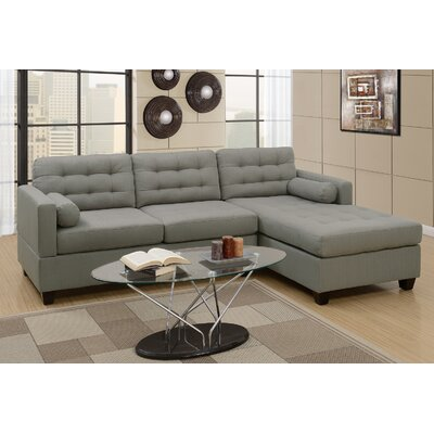 Buckwalter Linen-like Reversible Sectional Upholstery: Gray
