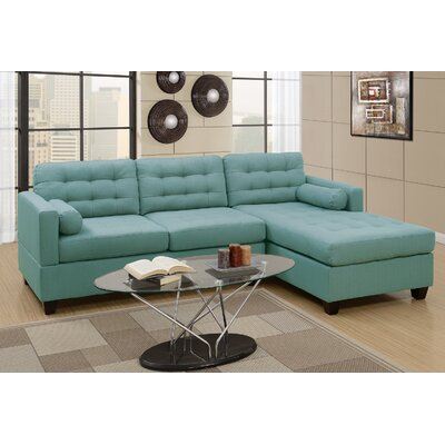 Buckwalter Linen-like Reversible Sectional Upholstery: Laguna