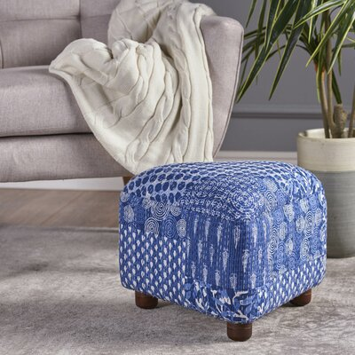 Lisse Ottoman with Wood Frame Upholstery: Blue/White