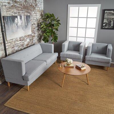 Birchfield 3 Piece Living Room Set Upholstery: Light Gray