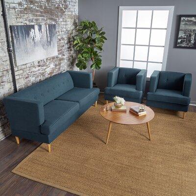 Birchfield 3 Piece Living Room Set Upholstery: Navy Blue