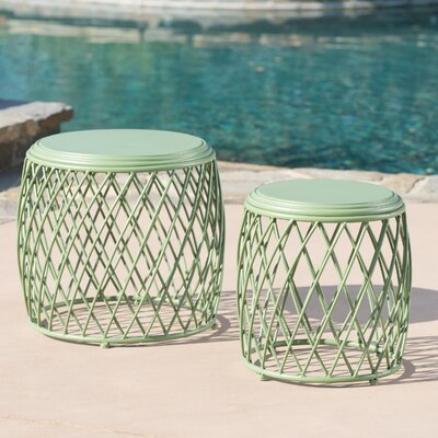 Biehl Outdoor Iron Side Table Color: Matte Green