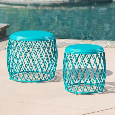 Biehl Outdoor Iron Side Table Color: Matte Teal