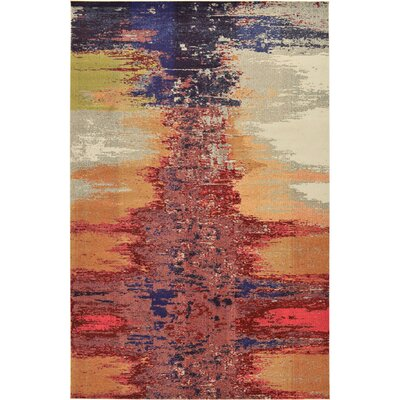 Downtown Soho Orange/Blue Area Rug Rug Size: Rectangle 4 x 6