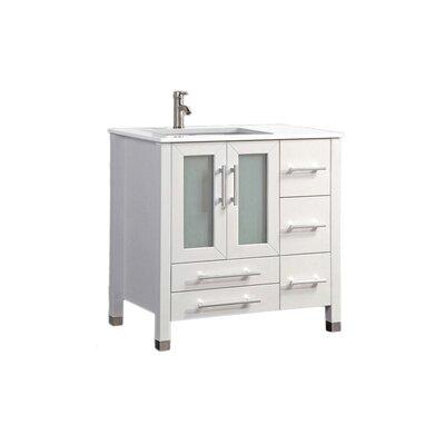 Nadeau Modern Left Side 36 Single Bathroom Vanity Set Base Finish: White