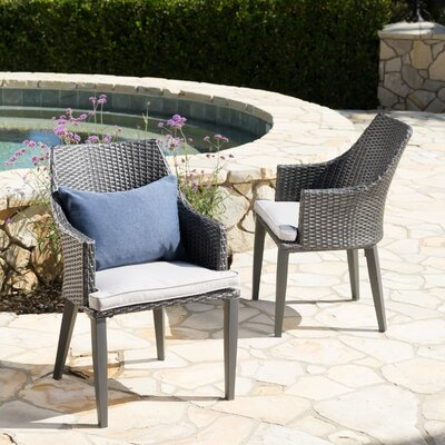 Ivy Bronx Backlund Wicker Patio Dining Chair with Cushion Color: Gray