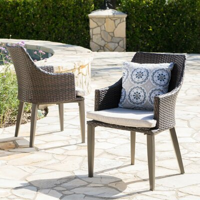 Ivy Bronx Backlund Wicker Patio Dining Chair with Cushion Color: Brown