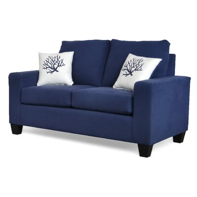 Dorothea� Loveseat Upholstery: Dyed Solid Blue / Coral White Blue