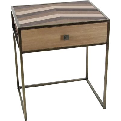 David Vintage Wood End Table