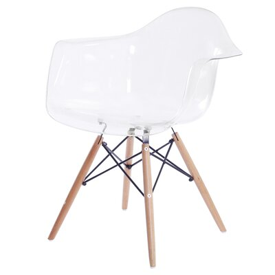 Pospisil Arm Chair with Wooden Legs Finish: Transparent