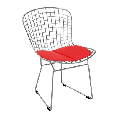 Burkey Wire Dining Chair Upholstery Color: Red