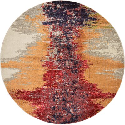 Ned Orange Abstract Area Rug Rug Size: Round 8