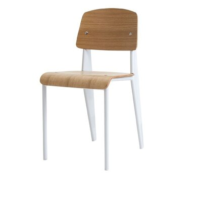 Crowl Metal Dining Chair Color: White/Natural