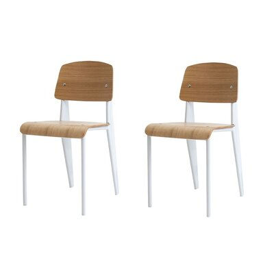 Crowl Dining Chair Color: White/Natural